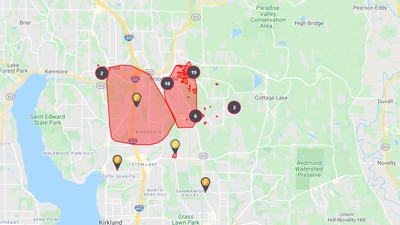 Power restored to over 10,000 customers in Woodinville, Kirkland