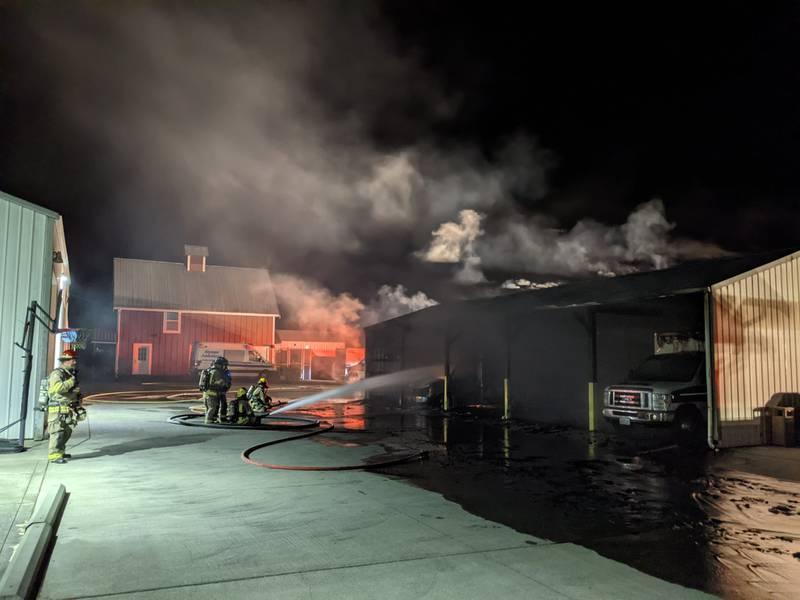 Ambulances, garage burn in Sequim