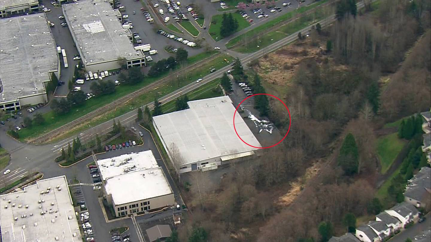 Overhead photo from Chopper 7 where a body was found in a burned car in Woodinville.
