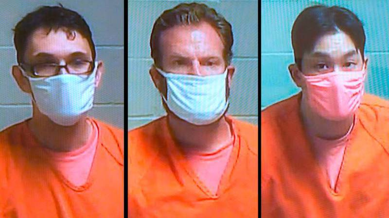 Mugshots of Tacoma police officers Christopher Burbank, left, Matthew Collins and Timothy Rankine