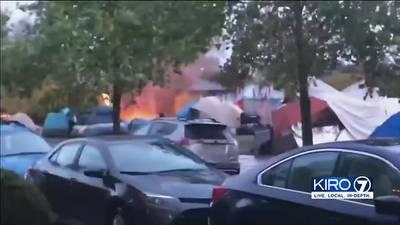 VIDEO: Tensions rise as encampment fire explodes in Ballard Park
