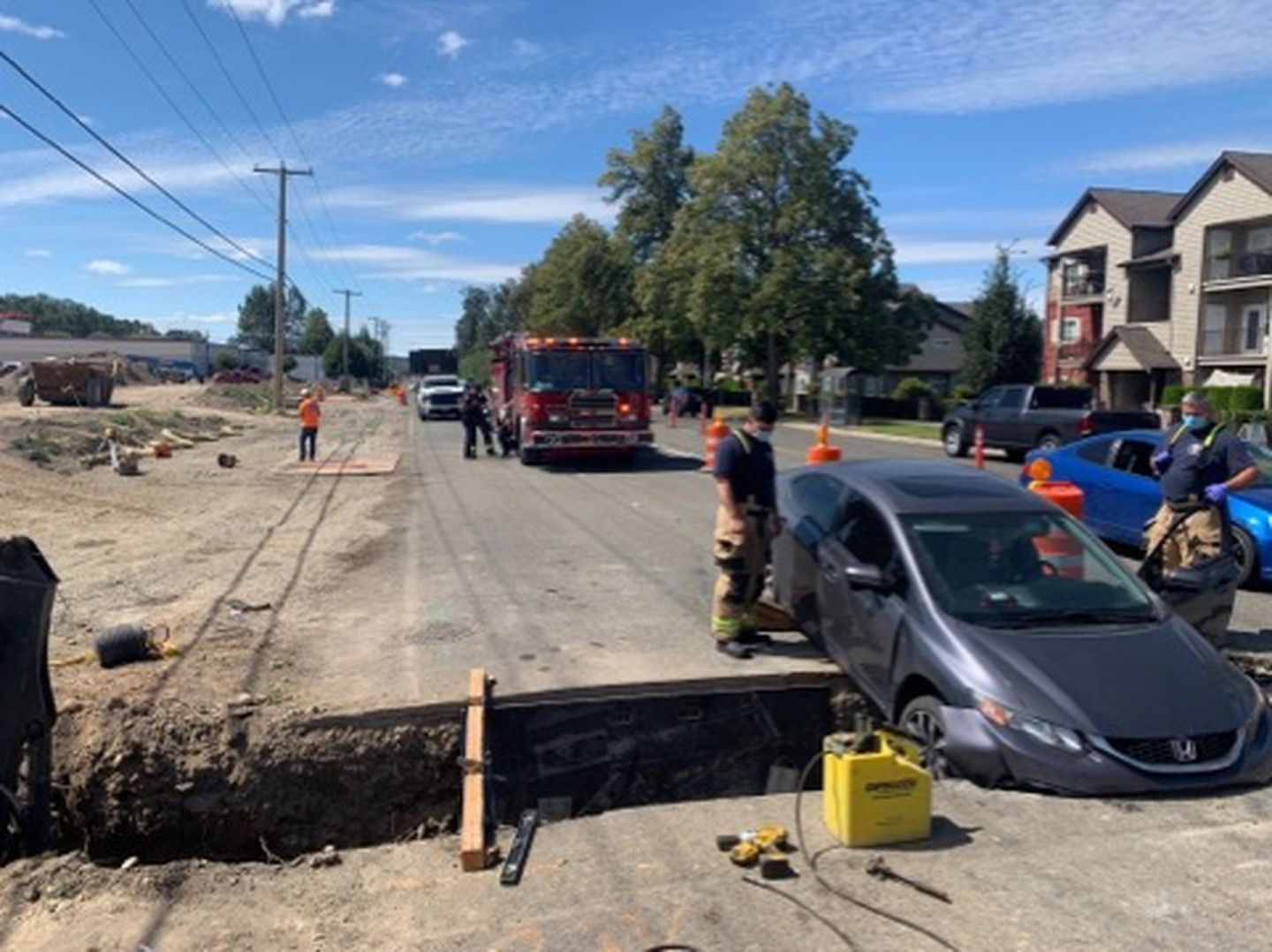 DUI suspect drives into trench in Puyallup