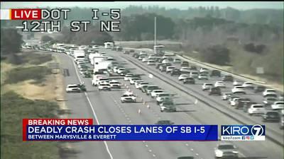 1 killed in crash involving vehicle, motorcycle on SB I-5