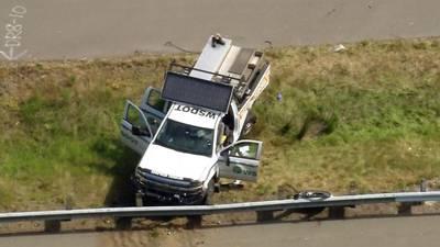 Crew member hurt when WSDOT truck hit on I-405