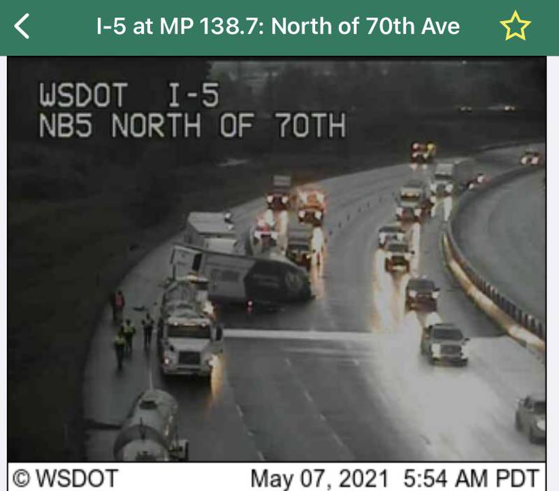 Semi-trucks were involved in a crash that blocked all lanes of northbound I-5 near Fife.