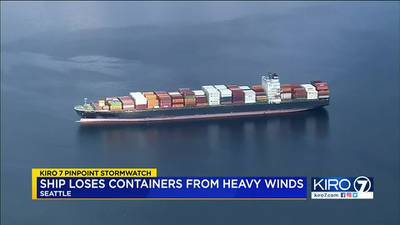 VIDEO: Ship loses containers due to severe windy weather