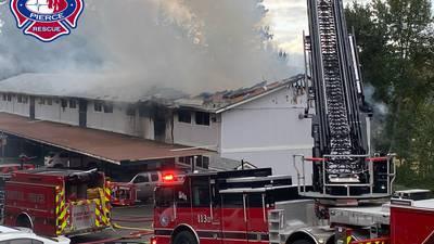 PHOTOS: 3-alarm fire tears through Edgewood apartments