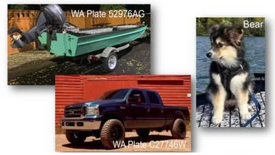 Truck pulling boat stolen in Lacey with puppy inside