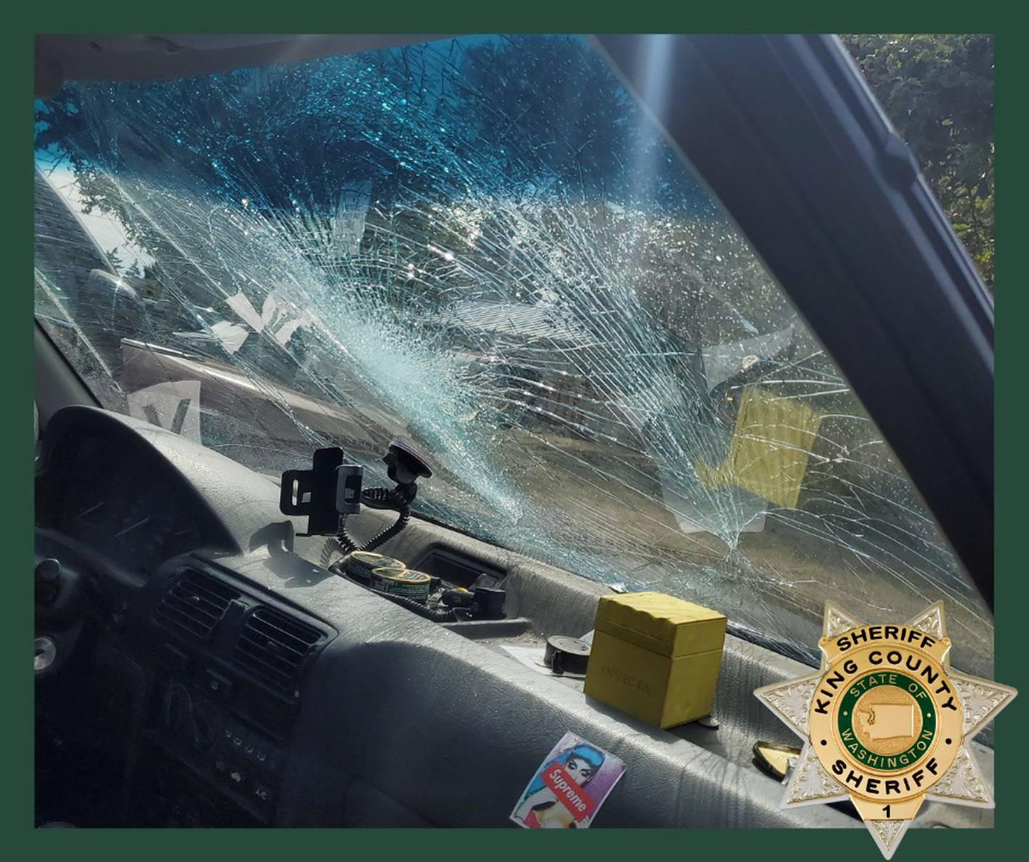 Shattered windshield on DUI suspect's car